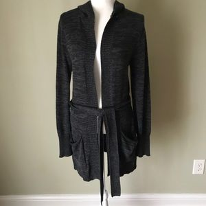 Rosy Gray hooded cardigan sweater Medium